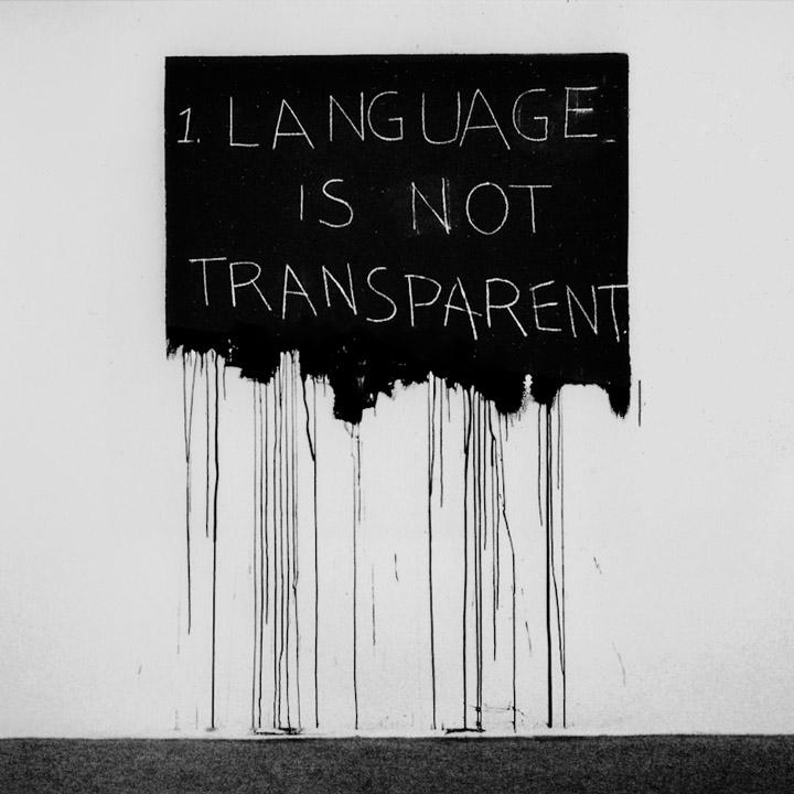 """""""Language is not transparent"""" – giz sobre tinta sobre parede, instalação de Mel Bochner, 1970"""